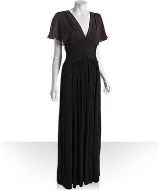 BCBGMAXAZRIA black knit 'Liz' lace back evening gown
