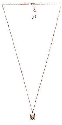 Michael Kors Brilliance Long Pave Padlock Pendant Necklace
