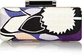 Diane von Furstenberg Tonda printed basketweave cotton clutch