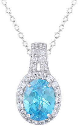Lord & Taylor Sterling Silver and Aqua Cubic Zirconia Pendant Necklace