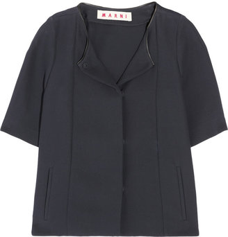 Marni Leather-trimmed cotton jacket