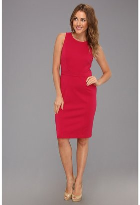 Nine West Solid Ponte Hourglass Sheath (Cerise) - Apparel