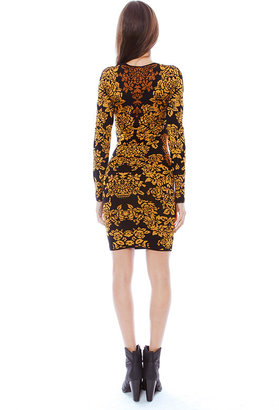 Torn By Ronny Kobo Mammie Bouquet Jacquard Dress in Gold Combo