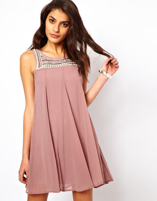 TFNC Swing Dress With Embellished Bib - Pink