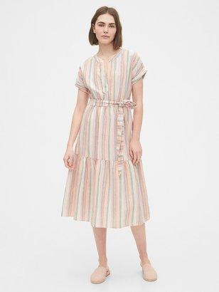 Gap Linen-Cotton Ruffle Midi Dress
