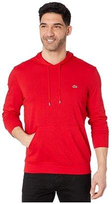Lacoste Jersey T-Shirt Hoodie (Black) Men's Sweatshirt