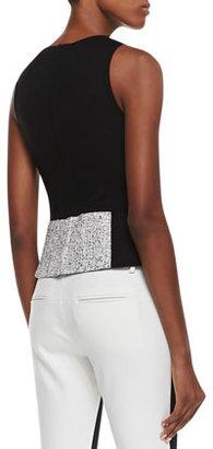 Tibi Sleeveless Tweed Colorblock Top