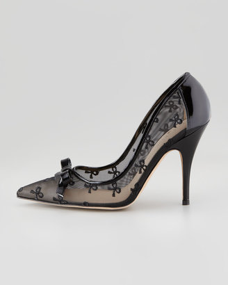 Kate Spade Lisa Bow-Print Mesh Pump, Black