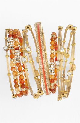 Seasonal Whispers Crystal & Metal Bangles (Set of 6)