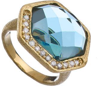 Urban Posh Antique Blue Quartz Septagon CZ Ring