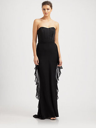 Badgley Mischka Strapless Silk Bustier Gown
