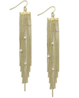 Alfani Earrings, Gold-Tone Crystal Chain Drop Earrings