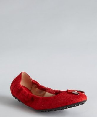 Tod's poppy textured suede tasseled ballet flats