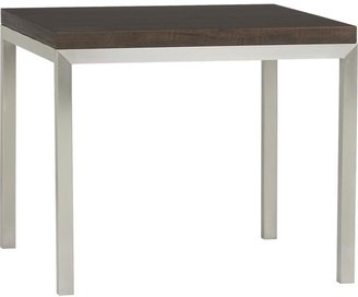 """Crate & Barrel Myrtle Top/ Stainless Steel Base 36"""" Sq. Parsons Dining Table"""