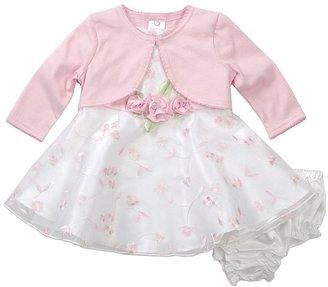 Youngland floral schiffli dress & cardigan set - newborn