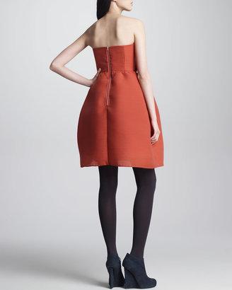 Carven Wool Gazar Bustier Dress, Orange-Red