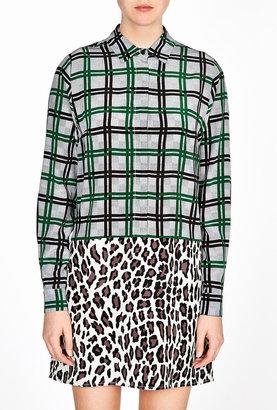MSGM Check And Leopard Print Shirt Dress