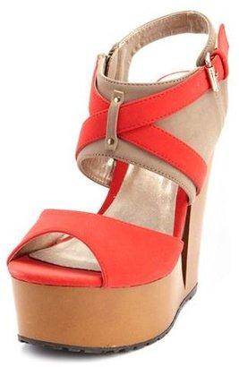 Charlotte Russe Color Block Cutout Wedge Heel