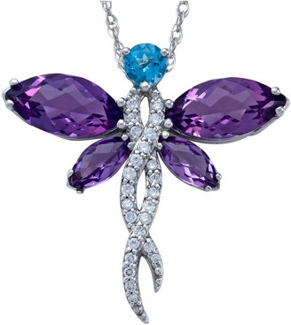 FINE JEWELRY Lab-Created Amethyst Dragonfly Sterling Silver Pendant Necklace $99.98 thestylecure.com