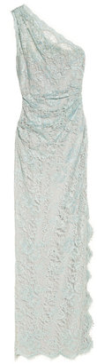 Emilio Pucci One-shoulder lace and stretch-silk gown