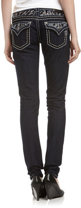 Miss Me Sequin-Inset Embroidered Skinny Jeans
