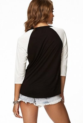 Forever 21 Contemporary Studded Cross Raglan Top