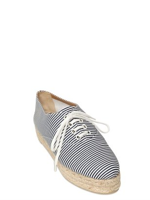 Castaner 25mm Canvas Stripes Lace Up Sneakers