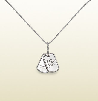 "Gucci Dog Tag Necklace With """"I Love You"""" Engraving"