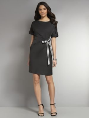 New York & Co. Side-Tie Solid Shirt Dress