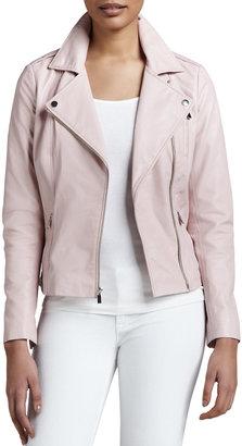 Neiman Marcus Motorcycle Zip-Front Leather Jacket