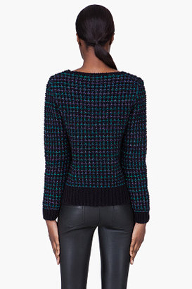 Vanessa Bruno Teal Metalized Yarn Bead Sweater