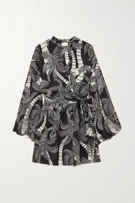 Dries Van Noten Doosey Belted Printed Silk Wrap Mini Dress - Black