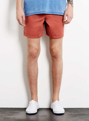 Topman Coral Acid Wash Shorts