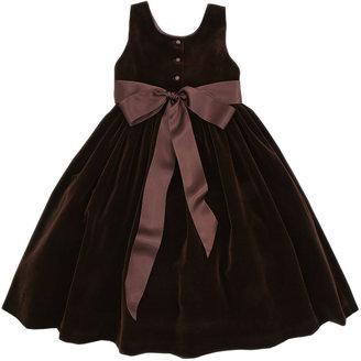 Ralph Lauren Velvet Dress with Silk Flowers, Chestnut Brown