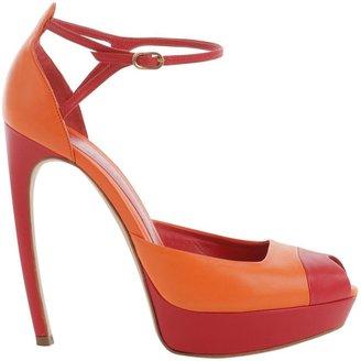 Alexander McQueen Red Platform Peep-Toes