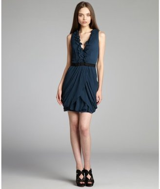 Vera Wang peacock pleated crinkle silk chiffon sleeveless dress