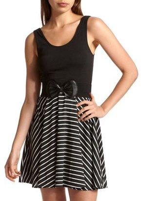Charlotte Russe Belted 2-Fer Stripe Dress