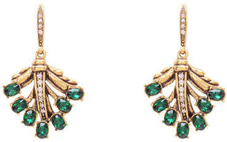Oscar de la Renta Gold Tone and Swarovski Crystal Leaf Drop Earrings