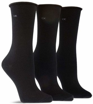 Calvin Klein Roll Top Combed Cotton Socks, Set of 3