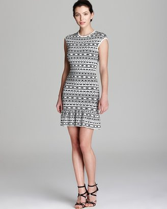 Torn By Ronny Kobo Quotation Dress - Kerry Tribal Jacquard Ruffle