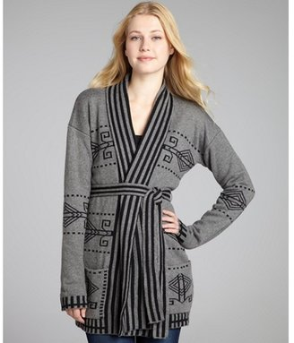 Jamison grey intarsia angora blend tie waist cardigan sweater