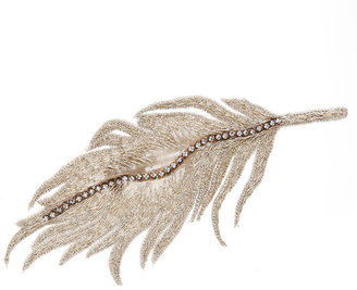 Colette Malouf Embroidered Silk Feather Snap Clip, Silver 1 ea
