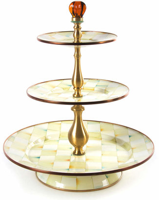 Mackenzie Childs MacKenzie-Childs Parchment Check 3-Tier Sweet Stand