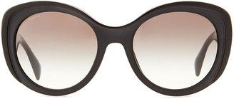 Prada Oval Cat-Eye Sunglasses, Black