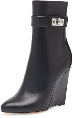 Givenchy Shark Lock Wedge Ankle Boot, Black