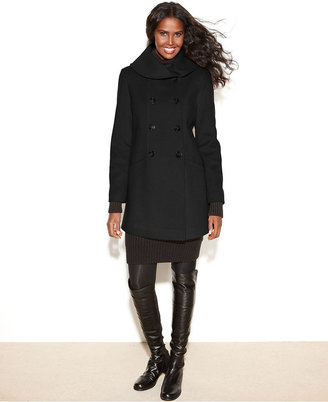 Larry Levine Double-Breasted Shawl-Collar Wool-Blend Coat