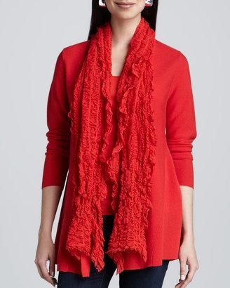 Eileen Fisher Gauzy Wool Pucker Scarf, Lava