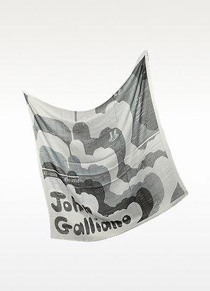 John Galliano Gradient Gray and Blue Printed Modal Wrap