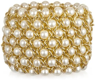 Kenneth Jay Lane Gold and Pearl Cuff