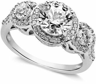 Arabella Sterling Silver Ring, Swarovski Zirconia Three Stone Ring (3-1/3 ct. t.w.)
